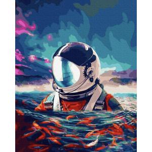 """Картина по номерам """"Астронавт и рыбки"""""""