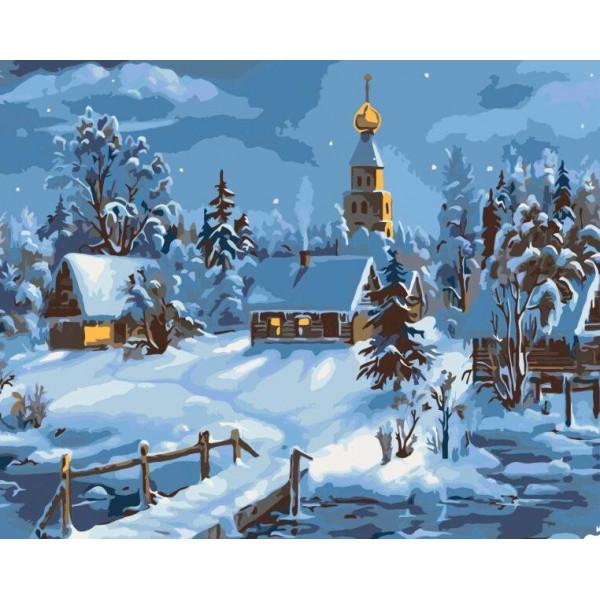 """Картина по номерам """"Деревенская зима"""""""