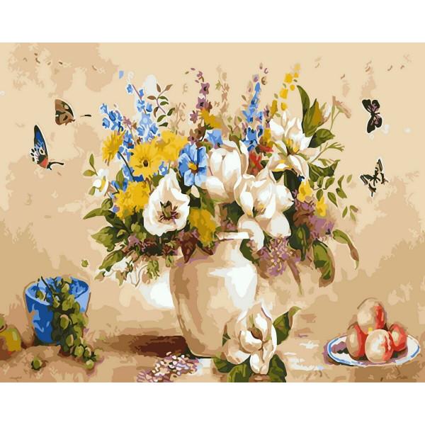 """Картина по номерам """"Букет и бабочки"""""""