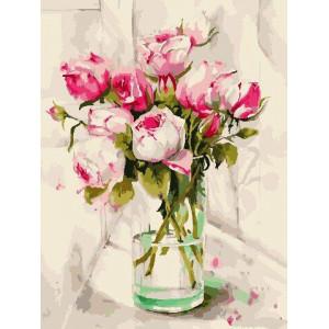"""Картина по номерам """"Акварельные розы"""""""