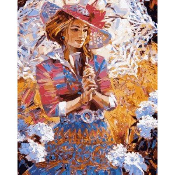 """Картина по номерам """"Девушка с кружевным зонтом"""""""