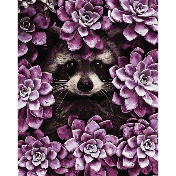 """Картина по номерам """"Енот в цветах"""""""