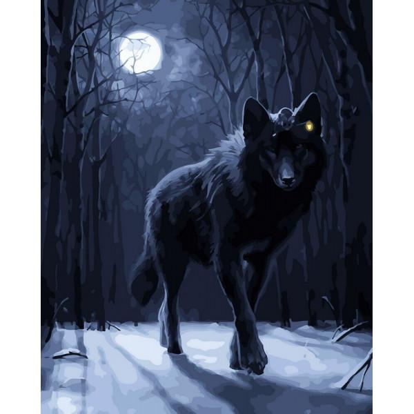 "Картина по номерам ""Волк при луне"""