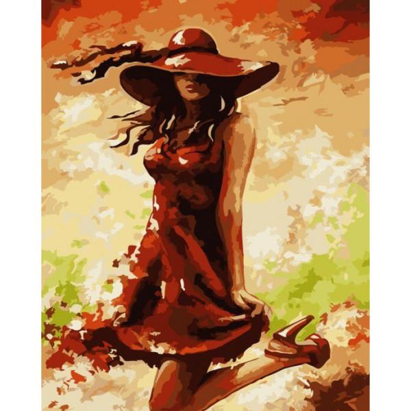 """Картина по номерам """"Дама в красном"""""""