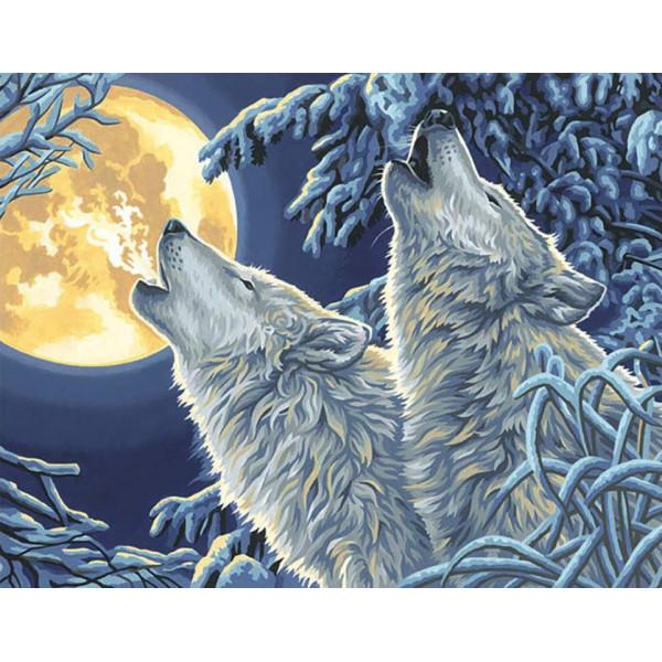 "Картина по номерам ""Волки в лунном свете"""