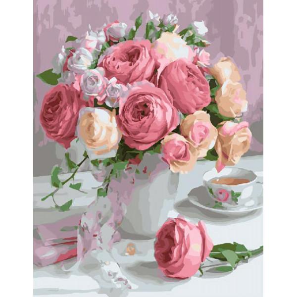 """Картина по номерам """"Бело-розовые цветы"""""""