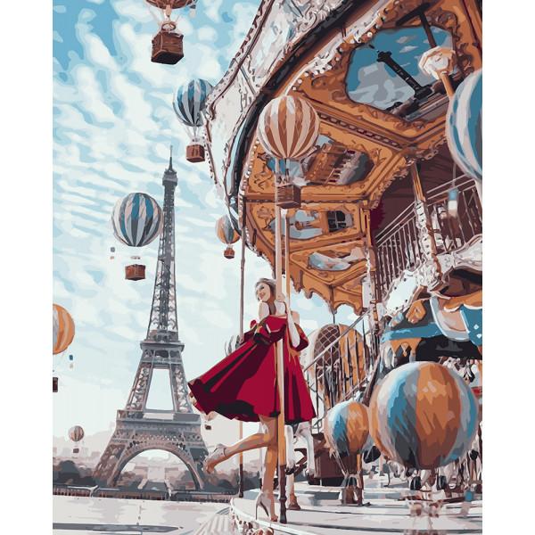 """Картина по номерам """"Воздушные шары и девушка"""""""