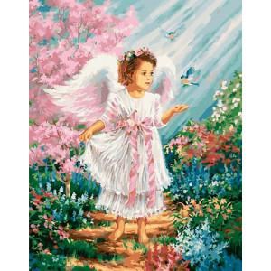 """Картина по номерам """"Ангелочек в цветущем саду"""""""