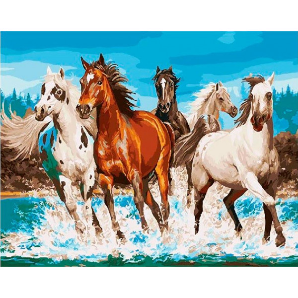 "Картина по номерам ""Бегущие лошади"""