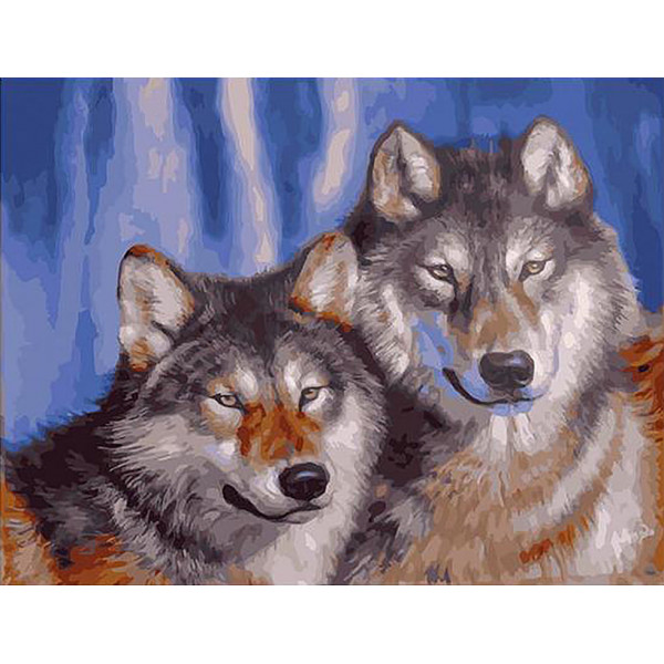 "Картина по номерам ""Волчья пара"""