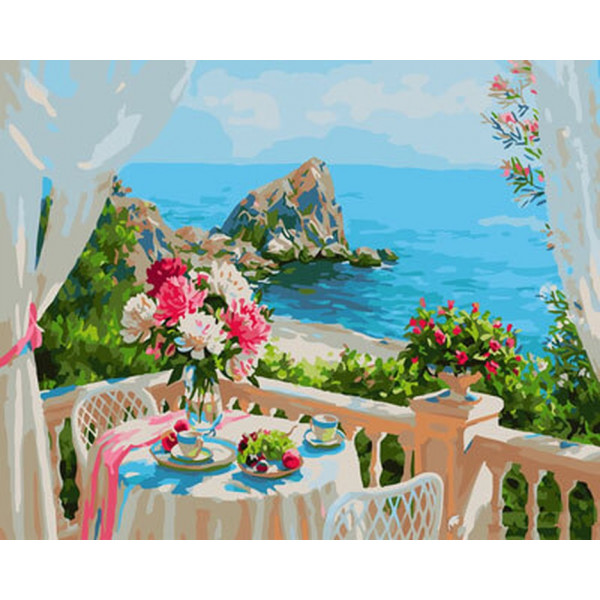 "Картина по номерам ""Балкончик с видом на море"""