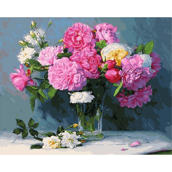"""Картина по номерам """"Букет из розовых пионов"""""""