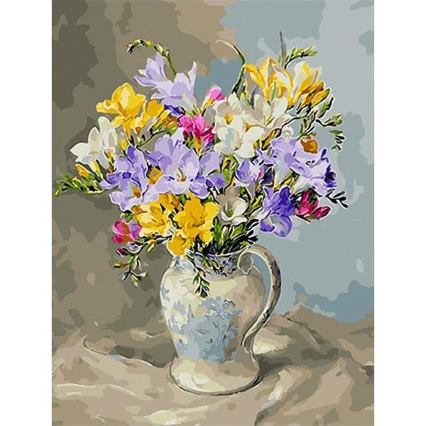 """Картина по номерам """"Весенний букет в вазе"""""""
