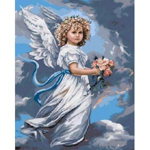 "Картина по номерам ""Ангел с цветами"""