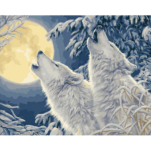 """Картина по номерам """"Волчий вой в зимнем лесу"""""""