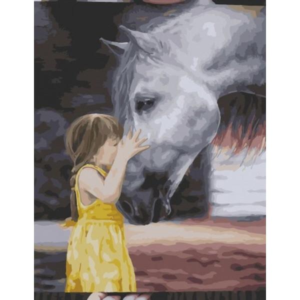 "Картина по номерам ""Девочка с лошадью"""