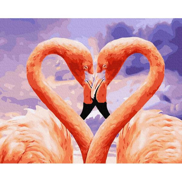 """Картина по номерам """"Влюбленные фламинго"""""""