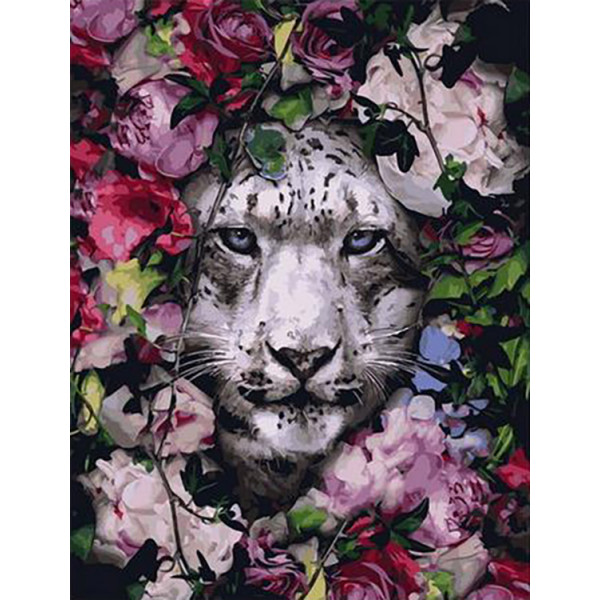 """Картина по номерам """"Барс в цветах"""""""