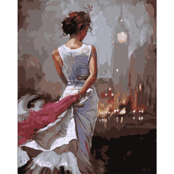 """Картина по номерам """"Девушка в белом платье"""""""