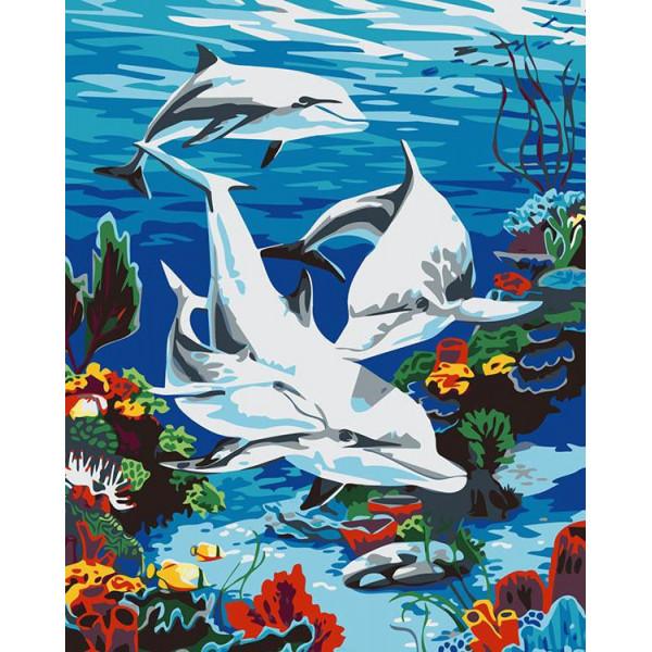 """Картина по номерам """"Дельфины в море"""""""
