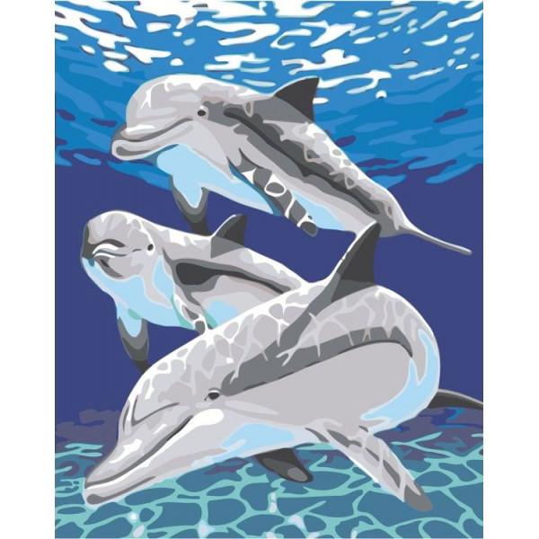 """Картина по номерам """"Дельфины в воде"""""""