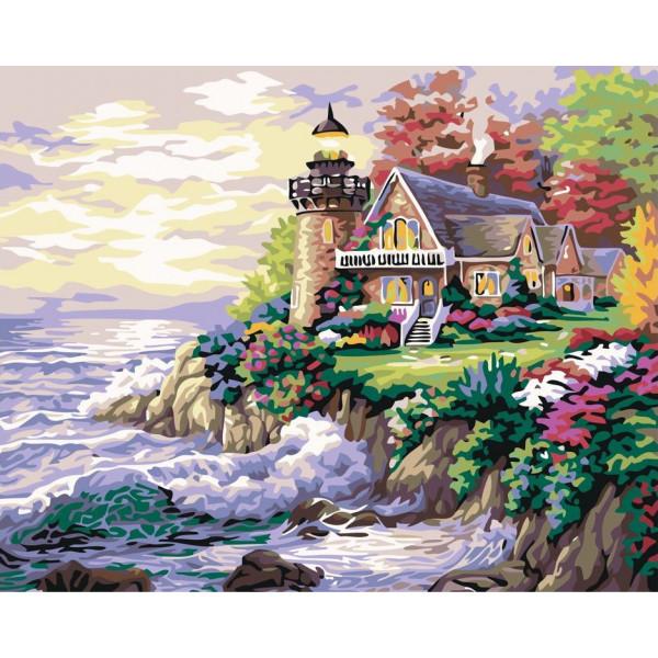 """Картина по номерам """"Дом с маяком у моря"""""""