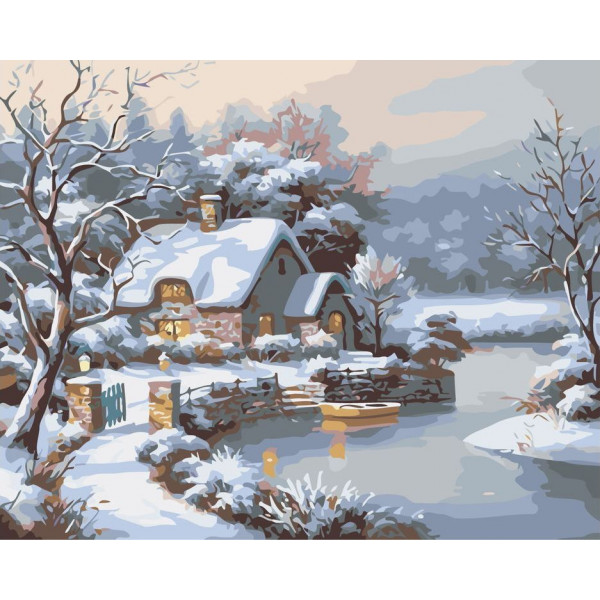 "Картина по номерам ""Домик в зимнем лесу"""