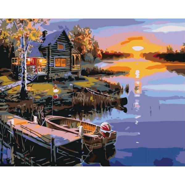 "Картина по номерам ""Дом у речки на закате"""