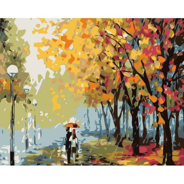 """Картина по номерам """"Двое в парке под дождём"""""""
