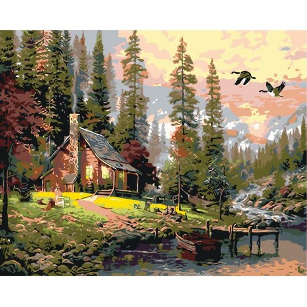 """Картина по номерам """"Домик в лесу у речки"""""""