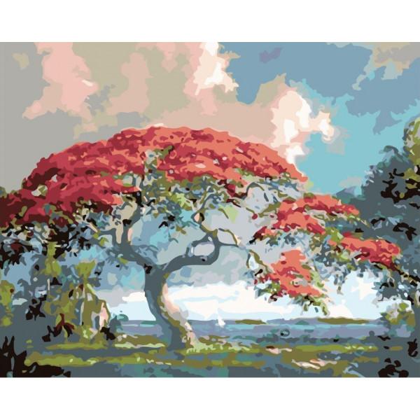 """Картина по номерам """"Дерево в цвете"""""""