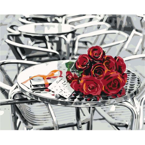 "Картина по номерам ""Букет роз на столике"""