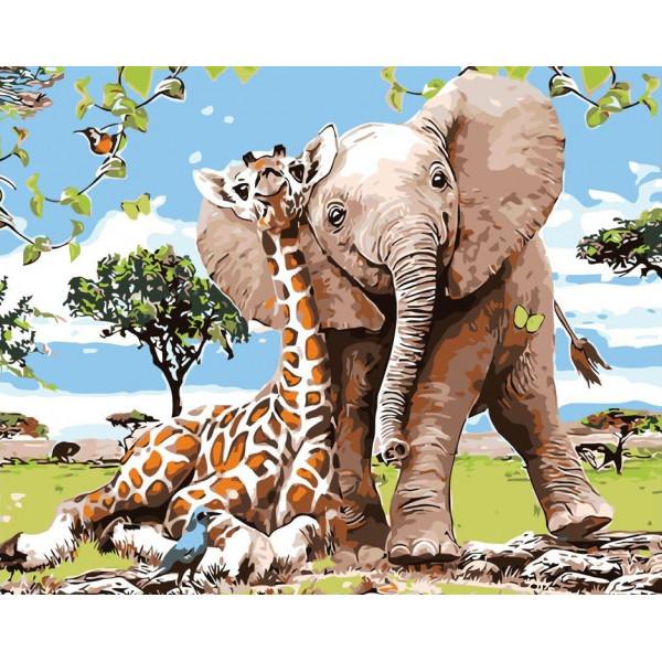 "Картина по номерам ""Жираф и слон"""