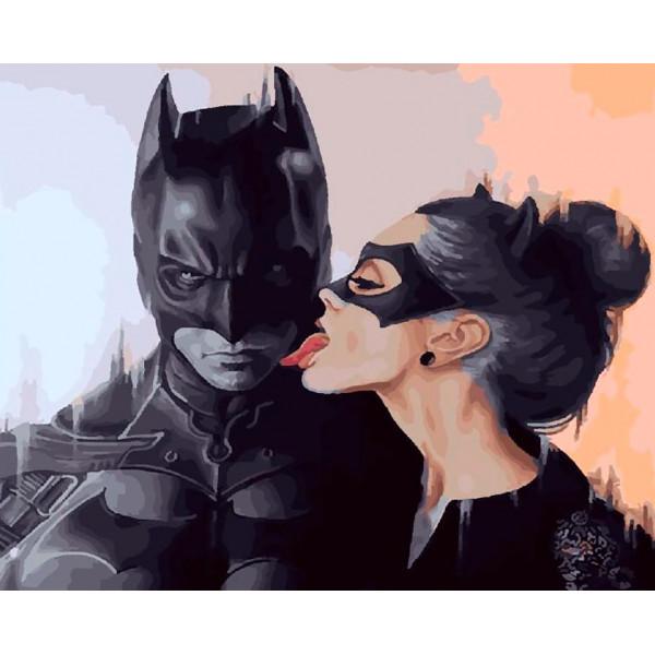 """Картина по номерам """"Бэтмен и женщина-кошка"""""""