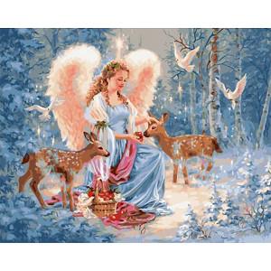 """Картина по номерам """"Ангел в зимнем лесу"""""""