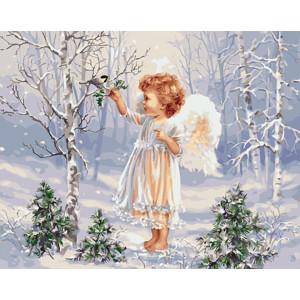 """Картина по номерам """"Ангелочек и зимняя пташка"""""""