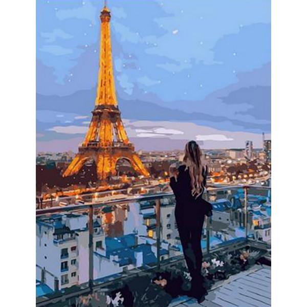"""Картина по номерам """"Вечерние огни Парижа"""""""