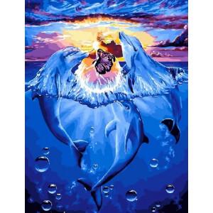 """Картина по номерам """"Дельфины и фея"""""""