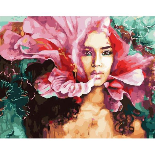 """Картина по номерам """"Девушка-цветок"""""""