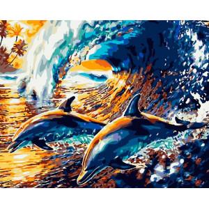 """Картина по номерам """"Веселые дельфины"""""""