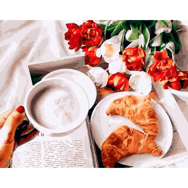"Картина по номерам ""Завтрак с круассанами"""