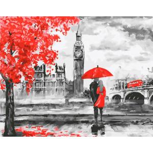 """Картина по номерам """"Красный Лондон. Пара под зонтом"""""""
